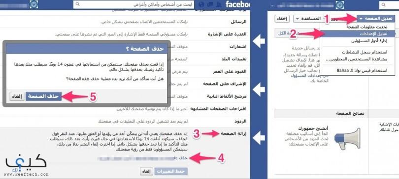 كيفية حذف الصفحات في فيس بوك